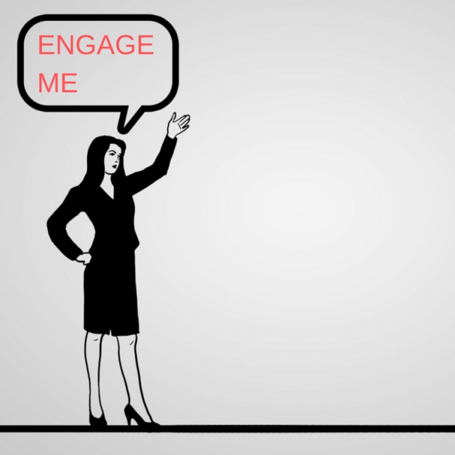Illustration of office worker asking to be engaged