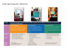 Summary page from the digital strategy at SA Water