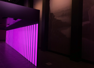 Image of a room with a tunnel displaying magenta and black stripes, an artwork by Sam Leach is just visible on the right hand wall of the Gallery