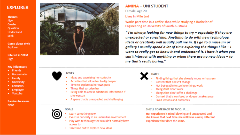 A single page displaying a picture of a girl and insights about an audience segment
